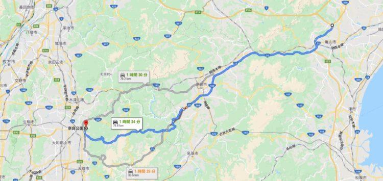 亀山ICから奈良公園までのルート