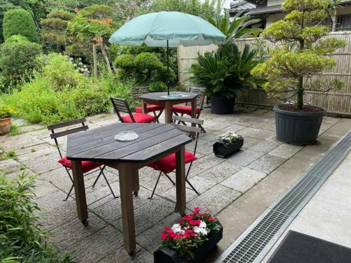 千葉県館山市にあるcafé123のテラス席