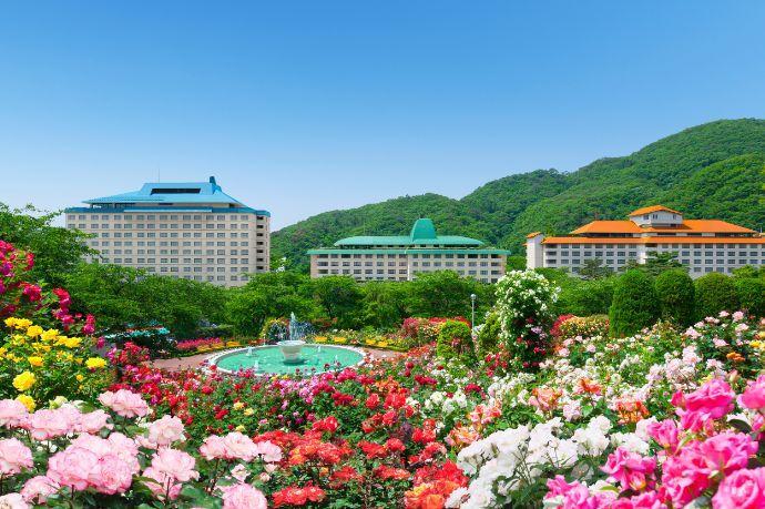 花巻温泉ウエディングのバラ園とホテル3館