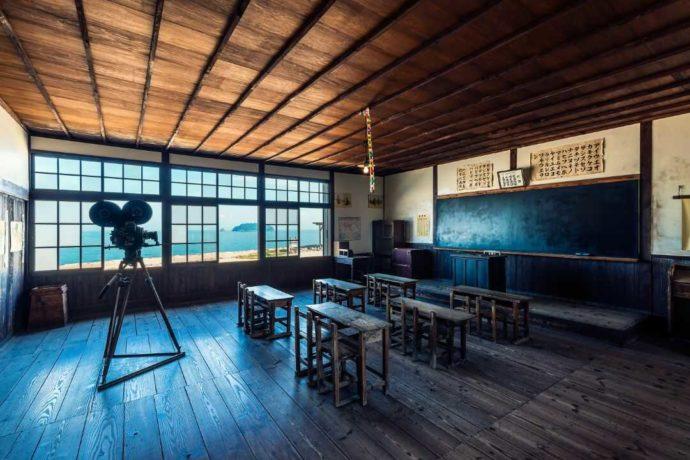 二十四の瞳映画村のフォトスポットである教室
