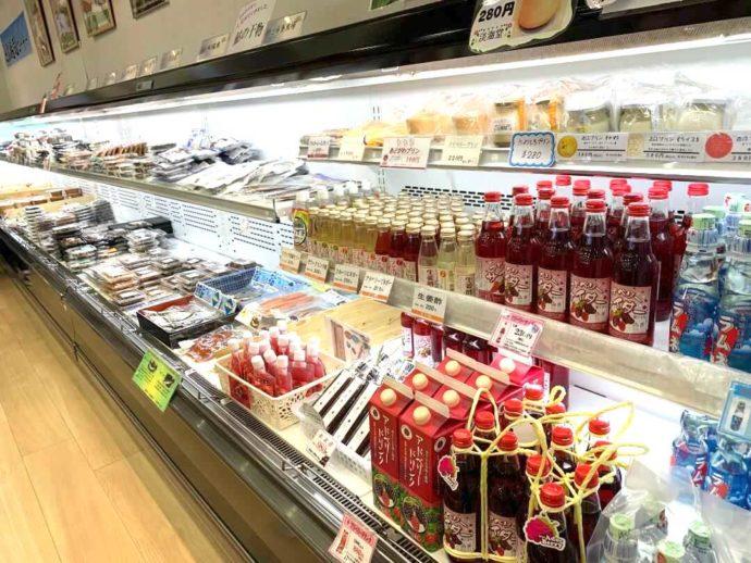 滋賀県高島市にある藤樹の里あどがわで売られている冷蔵品たち