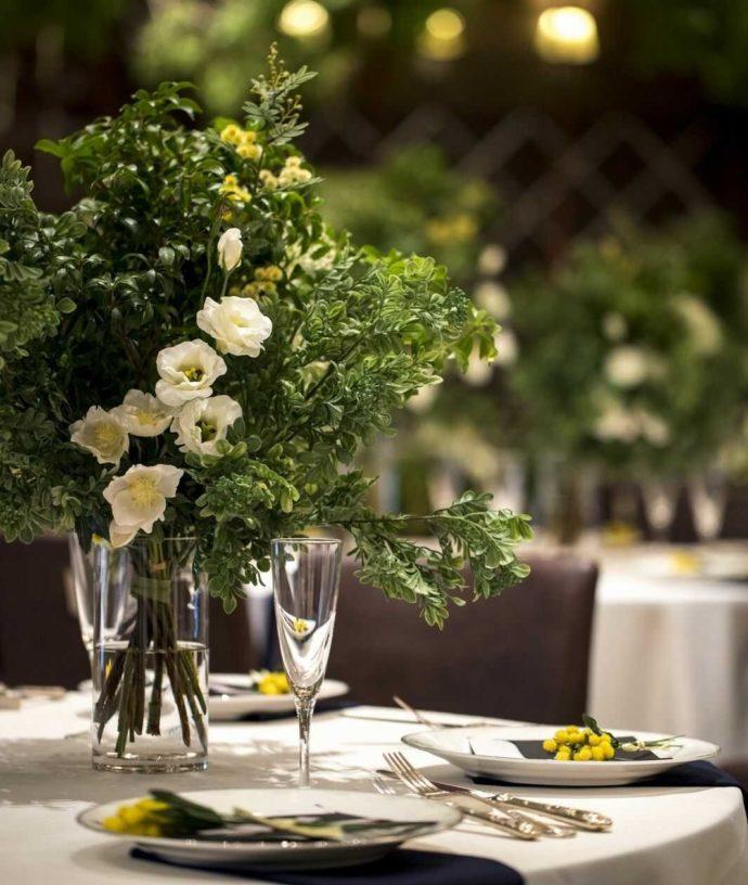 結婚式場アイルバレクラブのブライダルフェアのテーブルデコレーション