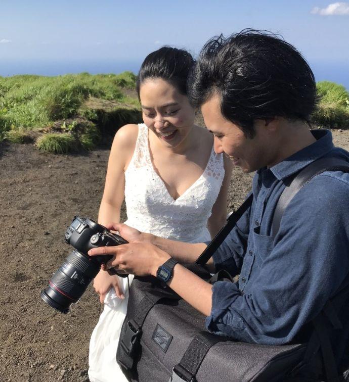 アメリカンホリデーズの結婚写真のロケーション撮影の様子