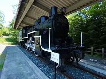 南相馬市博物館の外にある蒸気機関車