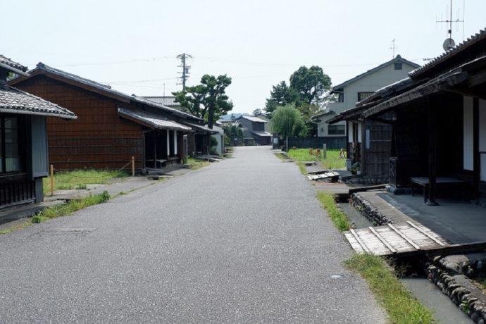 島田市博物館沿いの通路・川越遺跡を東から見たところ