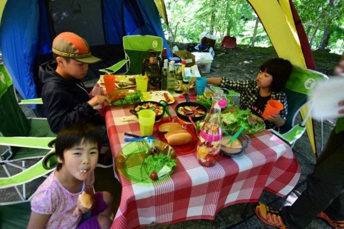 新潟県南魚沼郡にある大源太キャニオンキャンプ場でBBQを楽しむファミリー