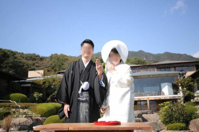 広島市南区にある結婚式場「エシェル」の石亭で行う人前式