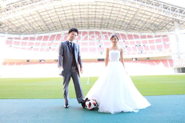 トヨタスタジアムでロケーション撮影をするご夫婦