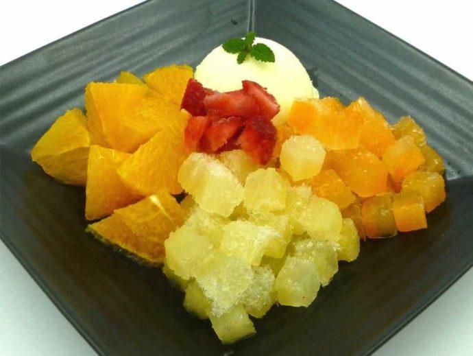 静岡県賀茂郡にある「ふたつぼり」の季節のオレンジと果汁キューブ
