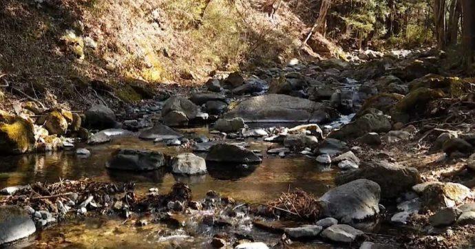 山梨県都留市にある「和みの里」の近くにある戸沢川の様子