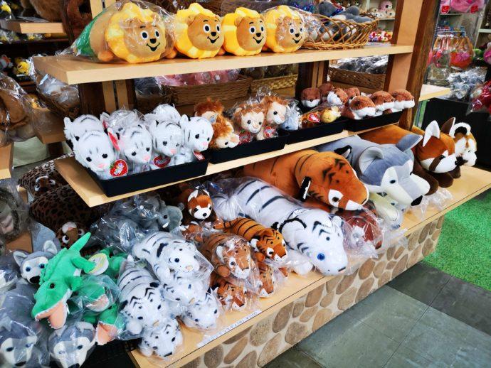 群馬サファリパークの売店マルシェで購入できる動物のぬいぐるみ