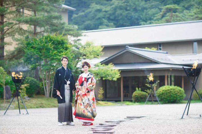 花巻温泉ウエディング日本庭園での写真