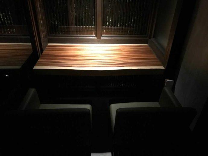 『大人の隠れ居酒屋 豊和 表参道』店内の両サイドが仕切られたカウンター席