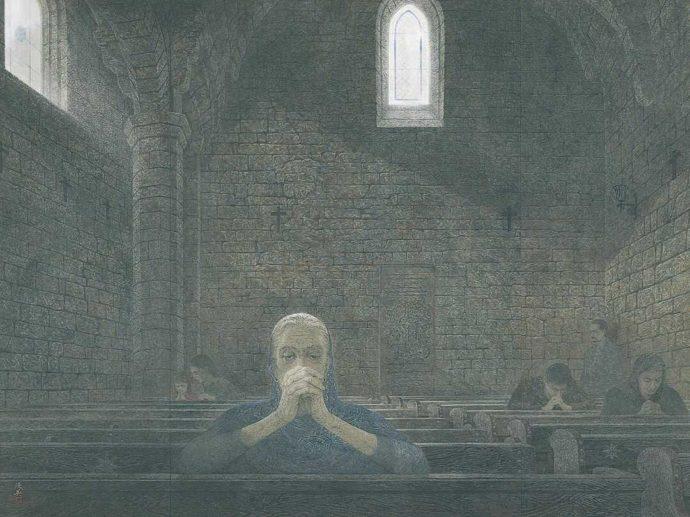 今井美術館に所蔵されている絵画・西田俊英「祈り」