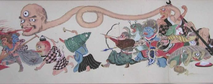 奇妙な姿の妖怪たちがユーモラスに行進する絵巻『百鬼夜行之図』