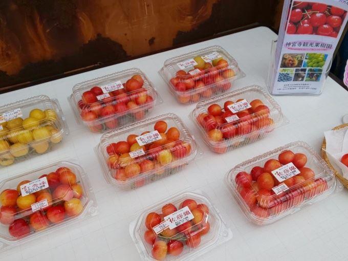 神宮寺観光果樹園の直売所で人気が高い果物や野菜