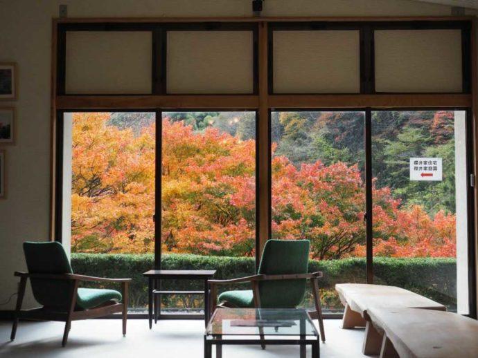 可部屋集成館内部から見える紅葉