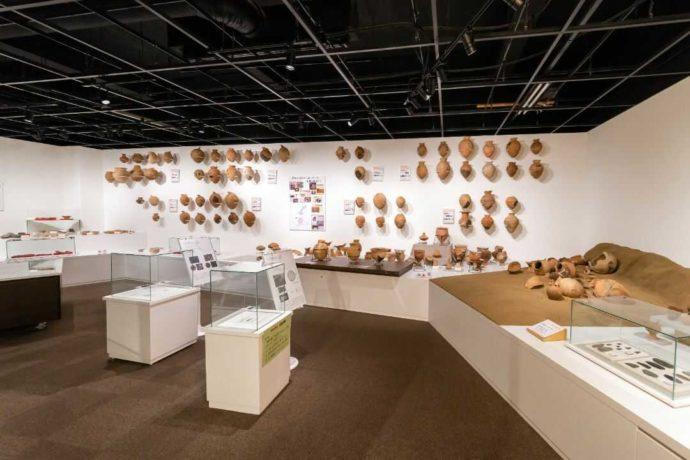 ふるさと考古歴史館にある土器の展示