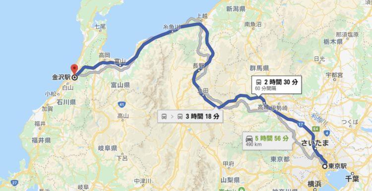 JR金沢駅までの周辺都市からのアクセス情報