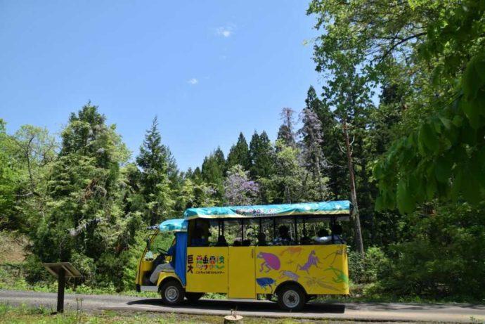 青空の下、巨大昆虫冒険ツアーを楽しむ人々