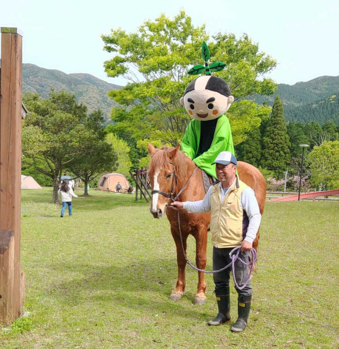 オートキャンプ森のかわなべで開催している馬とのふれあい体験