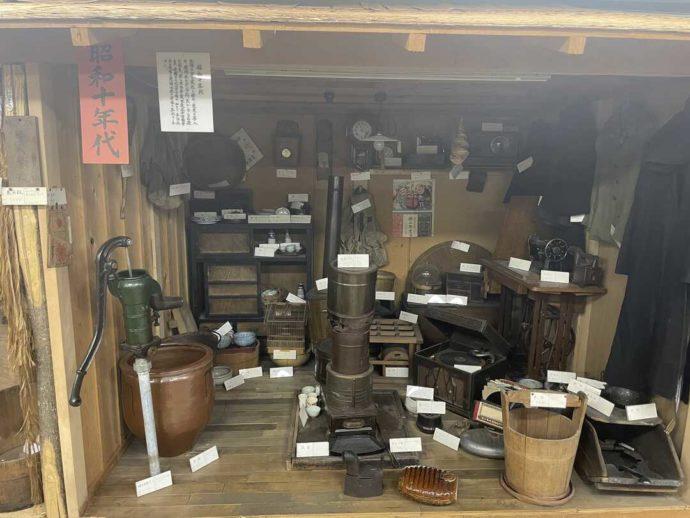 「剣淵町郷土資料館」に展示されている昭和10年代に使われていた生活用品