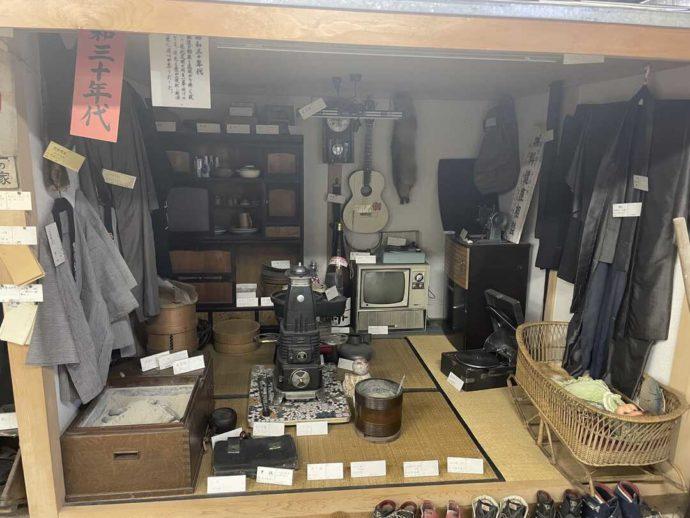 「剣淵町郷土資料館」に展示されている昭和30年代の生活用品