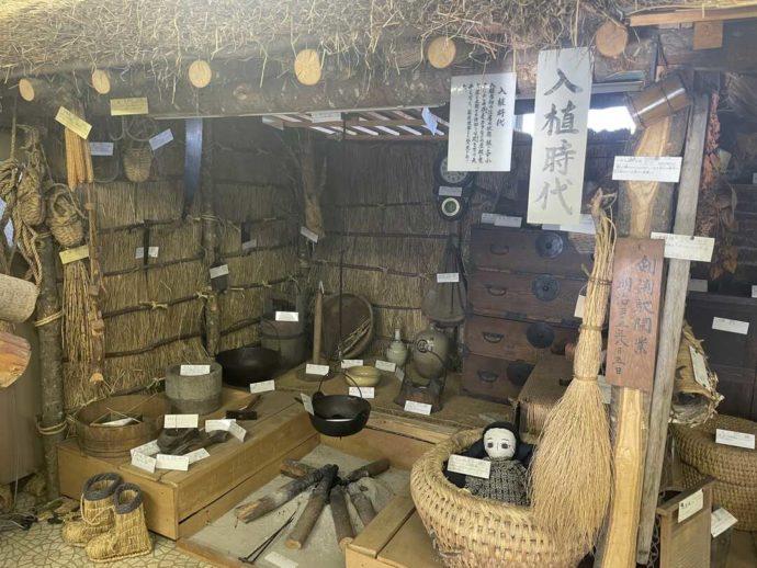 「剣淵町郷土資料館」に展示されている入植時代に使われていた生活用品