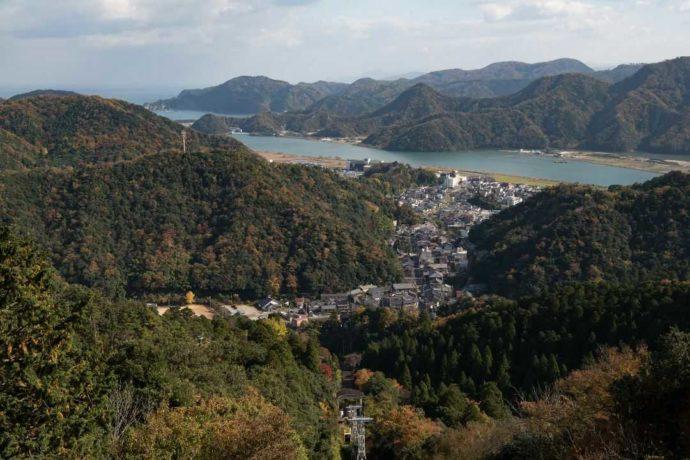 城崎温泉街の俯瞰写真