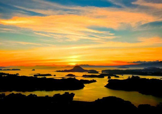 熊本・天草五橋の夕陽