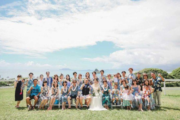 リノハワイでのクアロア牧場結婚式の集合写真