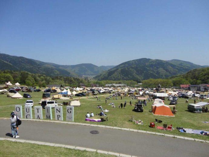 高島市の「マキノ高原」の人気エリアの高原サイト一望