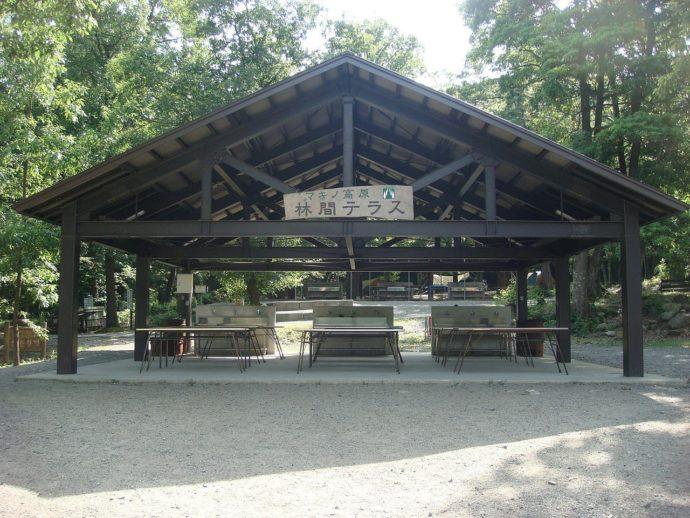高島市にある「マキノ高原」のキャンプ場の林間テラスエリア