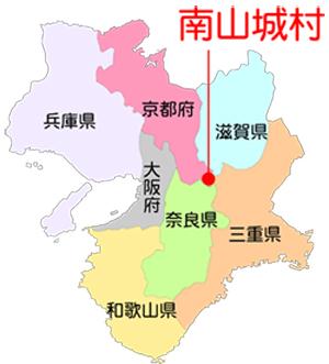 南山城村とその周辺の地図