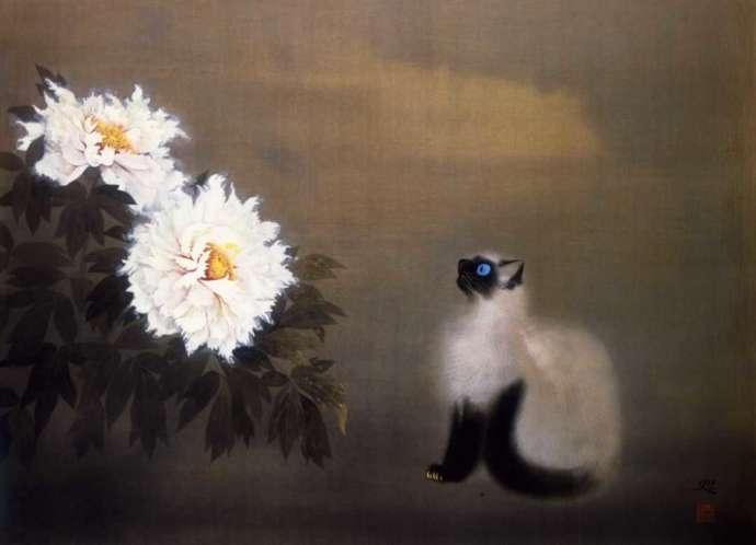 成川美術館所蔵、加山又造による作品「猫」