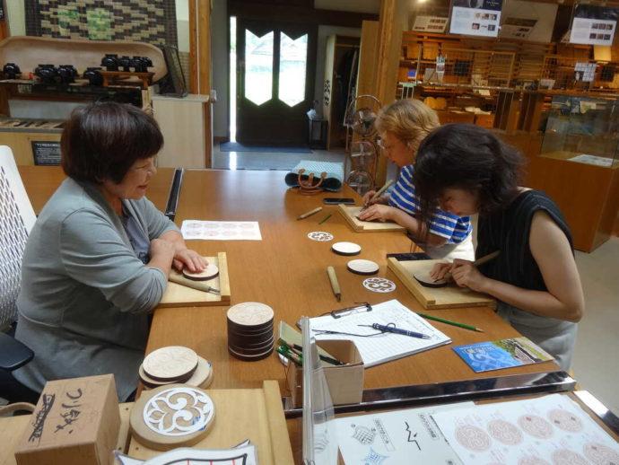 平取町立二風谷アイヌ文化博物館でアイヌの文化を体験できるワークショップに参加する人々