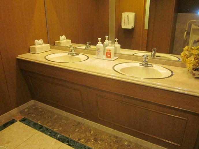 新冠温泉レ・コードの湯のトイレにある洗面台
