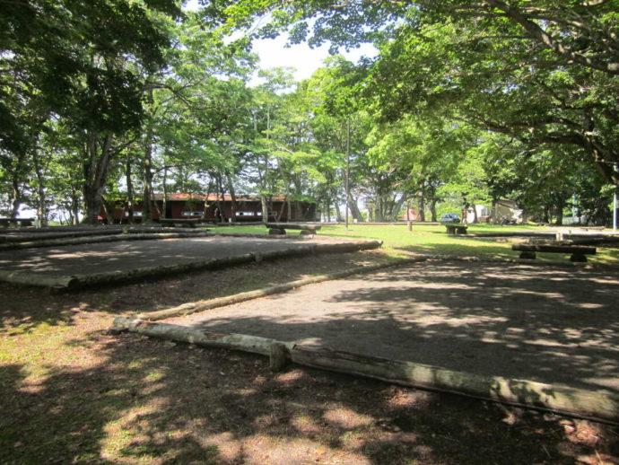 林間に位置する判官館森林公園キャンプ場のテントサイト