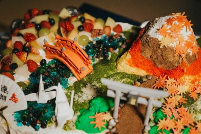 日光世界遺産ウエディングでいただける日光東照宮をイメージした和のウエディングケーキ