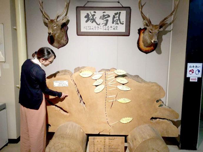 登別市郷土資料館の入り口すぐの展示物を紹介してくれる平塚さん