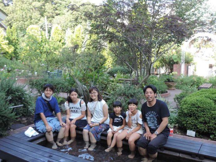 大分県別府市にある大分香りの博物館の足湯とハーブ園