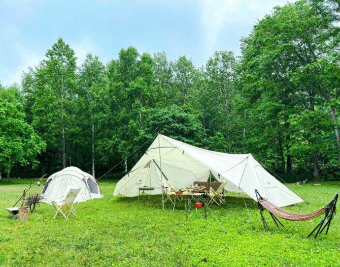 北海道余市郡にあるアカイガワ・トモ・プレイパークでのキャンプ風景