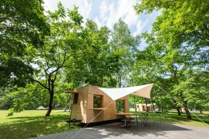 北海道余市郡にあるアカイガワ・トモ・プレイパークの住箱の外観