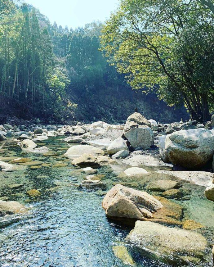 森の駅たるみずの前にある「猿ケ城渓谷」の様子