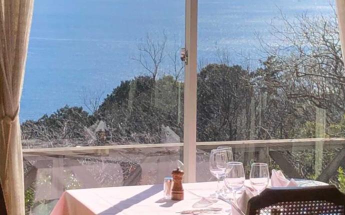 静岡県熱海市にある春陽亭から見る海