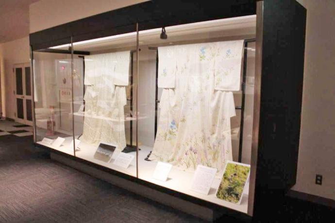 シルク博物館に展示されている美しい絹織物