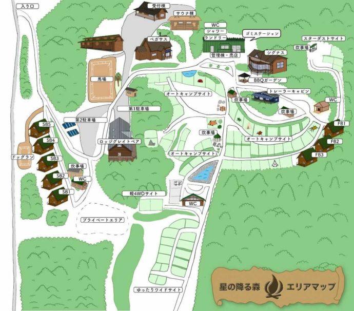 「星の降る森」のエリアマップ