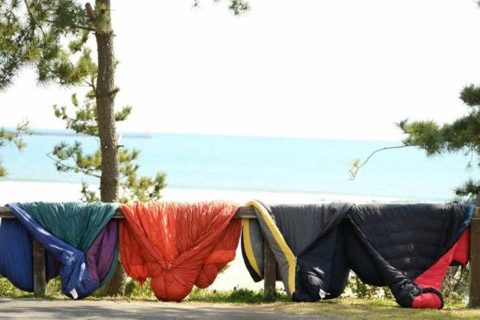 大洗サンビーチキャンプ場でスイミングウェアを干している様子