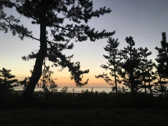 茨城県東茨城郡にある大洗サンビーチキャンプ場での朝の風景
