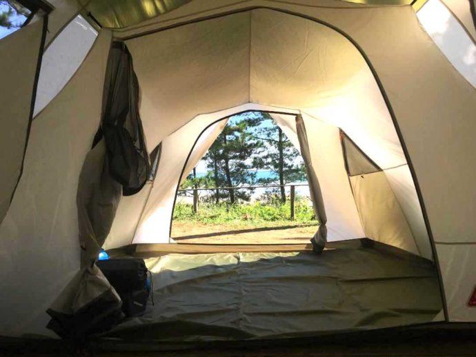 茨城県東茨城郡にある大洗サンビーチキャンプ場に設営したテント